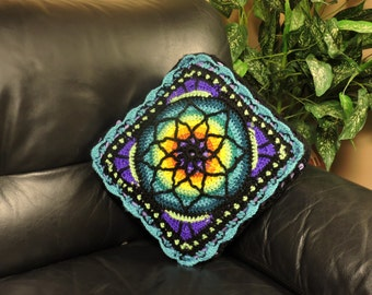 Stained Glass crochet pillow 14 x 14 natural yarn