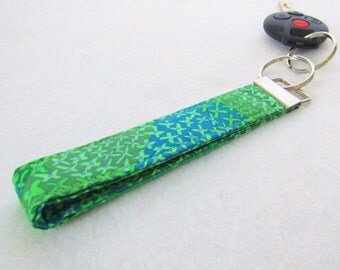 Fabric Wristlet Key Fob Kaffe Fassett Fabric Keyring Keychain Teal Blue Green Handmade