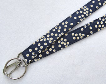 Tiny Daisy on Navy Blue Fabric Lanyard ID Badge Holder Breakaway Lanyard Key Ring Fob Navy White Yellow Floral