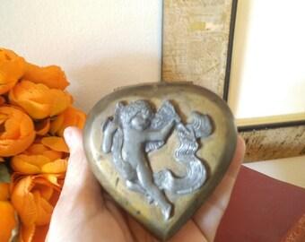 Vintage Brass and Pewter Cupid Cherub Heart hinged box ~ Wedding ~ Perfect RING Box ~ Keepsake