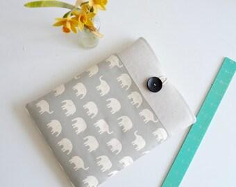 "iPad Case Grey Elephant iPad Tablet Sleeve Galaxy Tab 4 10.1"" Padded Pocket Custom Size Available"