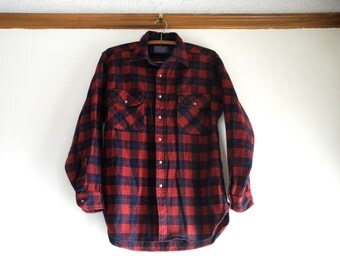 Classic Pendleton wool Robinson Dress Tartan plaid flannel shirt UNISEX sz. Medium