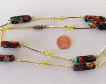 """Vintage Necklace with """"End of Day"""" Venetian Glass and Vintage Faceted Yellow Beads, 31"""" long"""