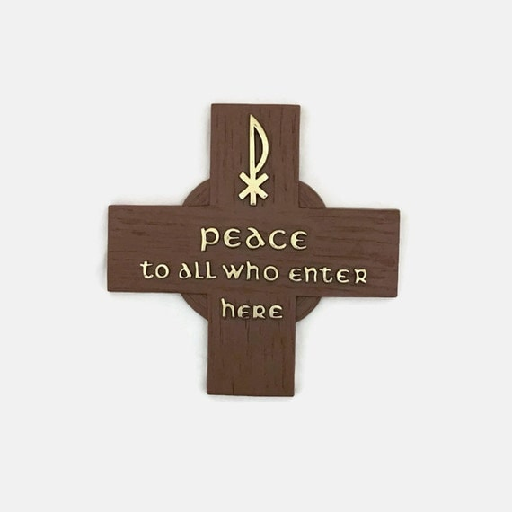 Vintage Religious Plaque  - Peace To All Who Enter Here Sign - Cross Wall or Door Hanging - Plastic