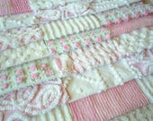 """Vintage Chenille Bedspread Squares - Pinks and White with Daisy and Rosebud-21-6"""""""