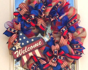 Americana Welcome Burlap Wreath for 4th of July,Americana wreath,Front door wreath,Wreath for July 4th,Welcome Star Wreath, Party Decoration
