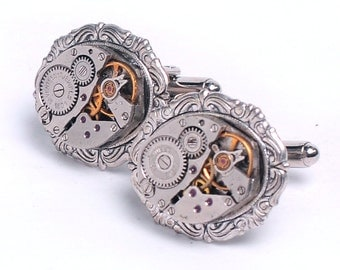 Steampunk Vintage Watch Movement Cuff Links