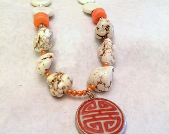 Women, Jewelry, Buffalo Turquoise Orange Pottery Shard Pendant Necklace