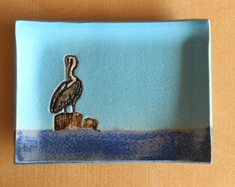 Ceramic PELICAN Soap Dish - Handmade Blue Stoneware PELICAN on Pylon Nautical Bird Soap Dish - Multipurpose Dish - Ready To Ship