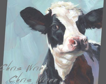 Cow Painting, Black and White Holstein Cow, Calf Original Painting - 8x8 inches  Farmhouse Wall Art
