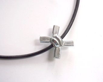 Mens Leather Necklace with Wing Nut Hardware XoXo Hug Choker