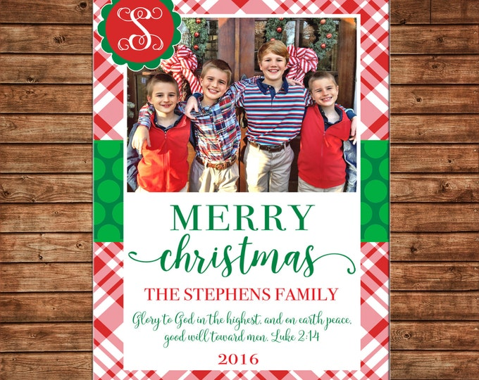 Christmas Holiday Photo Card Tartan Plaid Monogram - Can Personalize - Printable File or Printed Cards