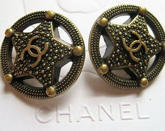 Lot  of 2 CHANEL Bronze Color Star Metal Buttons ,25 mm