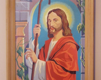 Vintage 1960s Framed PBN Paint by Number Craftint The Good Shepherd Jesus 18 X 24