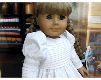 Off White Historical Dress for 18 Inch Doll like American Girl Doll Kirsten with Tucks Galore
