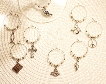 Christian inspired wine glass charms, peace, dove, church, religious, Jesus, angel, cross, Bible, fish, trumpet, Israel, Holy Land
