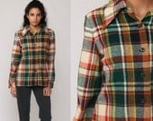 Plaid Shirt Wool 70s Jacket Button Up Long Sleeve Checkered 1970s Green Burnt Orange Grunge Small