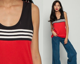 80s Tank Top Retro Shirt Striped Red Black White Sleeveless Top Color Block 1980s Hipster Vintage Sports Athletic Medium