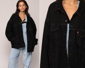 Black Levis Jacket Black Denim Jacket PLAID LINED 80s Levi Jean Trucker Biker Hipster Oversized Grunge Vintage Flannel Extra Large xxl 2xl