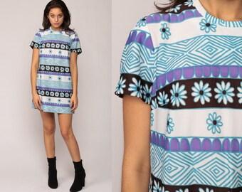 Flower Power Dress 60s Mini Floral Shift DAISY Mod Hippie 70s Boho Vintage Blue White Striped 1970s Short Sleeve Twiggy Extra Large xl