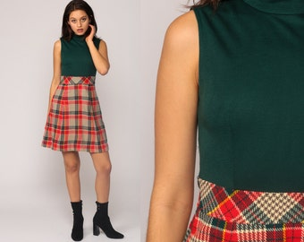 70s Mini Dress Plaid Mod Green Red Checkered Print 60s Preppy Sleeveless 1970s High Waisted Vintage Retro MiniDress Small