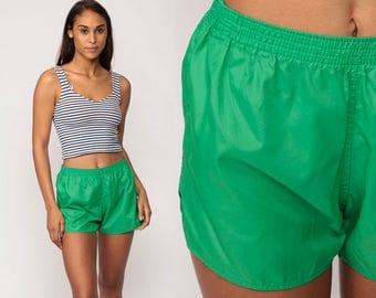 Jogging Shorts Green 80s Running Shorts Gym Shorts High Waisted Nylon Athletic Retro Joggers Hotpants Sports Vintage Hipster Small Medium