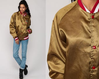 49ers Jacket San Francisco Varsity Satin Jacket 80s Football NFL Gold Bomber Forty Niners Sports Vintage Retro Letterman Medium