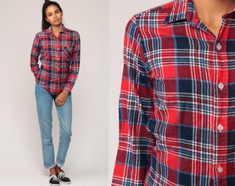 90s Plaid Shirt Red Flannel Shirt Navy Blue Grunge Button Up 80s Lumberjack Vintage Long Sleeve Extra Small xs