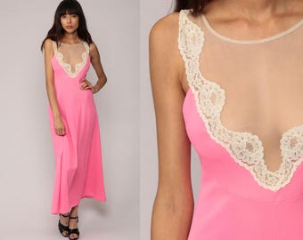 Sheer Nightgown Hot Pink Lingerie Slip Dress 70s LACE Maxi PLUNGE Neckline Boho Nylon Deep V Neck Empire Vintage 1970s Bohemian Medium