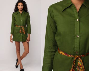 Mod Dress Shirtdress 70s Tunic Top Button Up Micro Mini Hippy Olive Green Shift 1970s Long Sleeve Vintage Twiggy Shirt Dress Extra Small xs