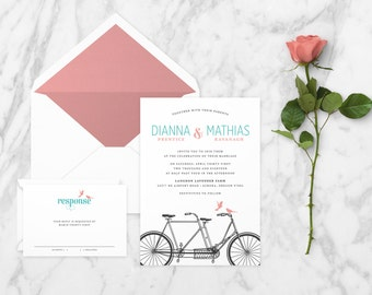 The 'Payton' Romantic Tandem Bicycle Wedding Invitation Suite (Sample)
