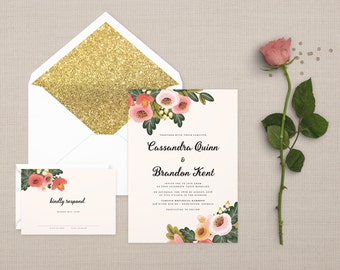 The 'Summer' Watercolour Wildflower Wedding Invitation Suite (Sample)