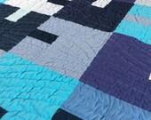 Blue waves modern quilt T...