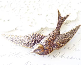 Ox Brass Sparrow Hair Barrette - Bird Hair Barrette - Sparrow Hair Barrette - Woodland Hair Barrette - Woodland Wedding Hair Barrette