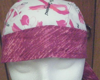 New Shades of Pink Ribbon with Words Print Breast Cancer Do Rag
