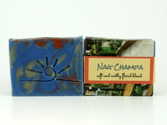 NAG CHAMPA - Cold Process Soap Bar / Beautiful Homemade Soap / red white blue