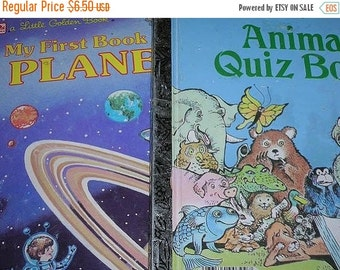 SALE- Set of Two Vintage Golden Books--Animal Quiz Book and My First Book of the Planets