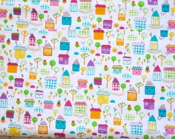 Timeless Treasures Tiny Town Happy House Kawaii Cotton Fabric - 1 yard