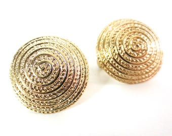 Vintage 80's Avon // Gold Swirl Button Clip on Earrings