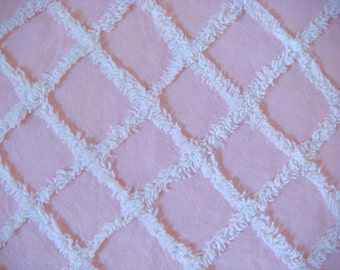 Baby Pink with White Plush Lattice Vintage Cotton Chenille Bedspread Fabric 12 x 24 Inches