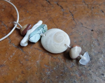 Shiva Eye shell, Chrysoprase shell beach pebble jewelry - gifts from the ocean as natural pendant necklace - Australian jewellery