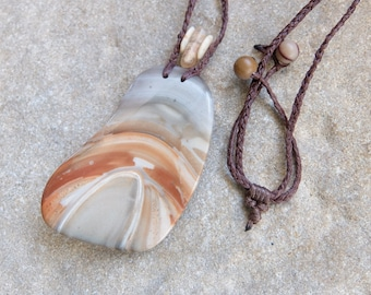 Ribbon stone, Quartz crystal necklace - natural stone jewelry - adjustable hand braided cord - earthy organic artisan handmade in Australia