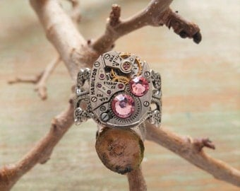 Womens Ring Steampunk, Watch Part Jewelery, Silver Filigree Wrap Adjustable Finger Ring, Pink Rhinestones Jewelry, Unique Rings for Her