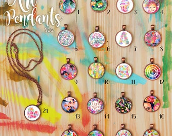 Art Pendant - artsy gift, unique art gift, colorful necklace, pollyanna, christmas gift, gift for girls, jewelry, portrait necklace, fun