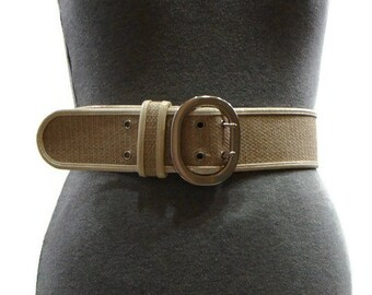 Vintage Patent and Jute Cream Belt Vintage Womens Belts Womens Wide Belts Jute Belt Tan Wide Belt