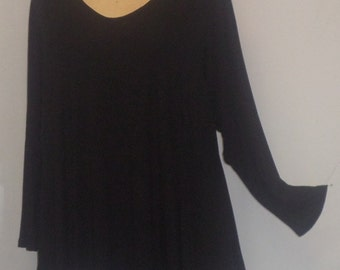Tunic Plus Size,Plus Size Top, Asymmetric Tunic Top, Women Tunic, Coco and Juan, Black Knit Size 2 (fits 3X,4X)  Bust 60 inches