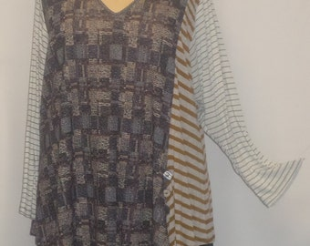 Tunic Plus Size,Plus Size Top, Asymmetric Tunic Top, Women Tunic, Coco and Juan,#8 Knit Size 2 (fits 3X,4X)  Bust 60 inches
