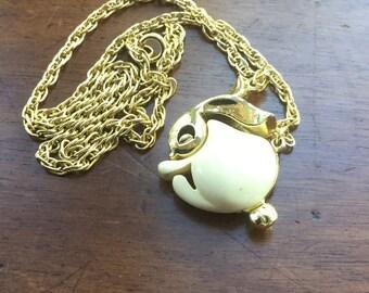 Vintage Easter Gold Crown Enamel Bunny Rabbit Pendant Necklace