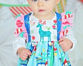 Baby Girl Christmas Dress - Modern Christmas Dress - Pink Blue Dress - Baby Flutter Sleeve Dress - Infant Christmas Dress -Family Photos