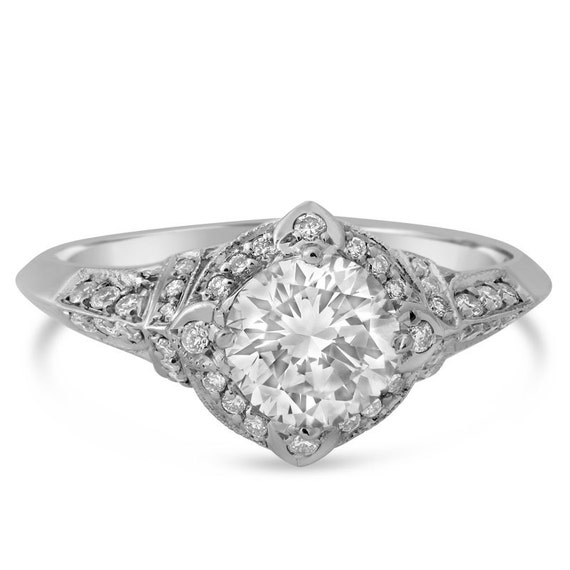 ROUND cut ANTQUE style diamond engagement ring 1.21ctw 14k white gold